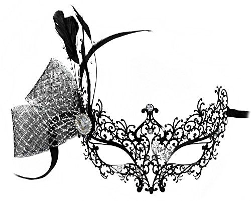 Adele Laser-Cut Metal Black Venetian Decorated Masquerade Mask