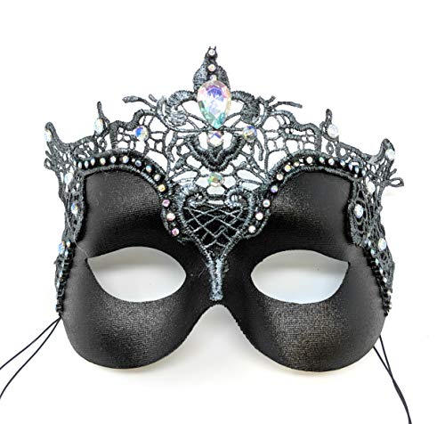 Lucretia Wicked Queen Black-Silver Masquerade Mask for Women