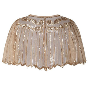 Exquisite Sequin and Bead Embellished 1920s Deco Shawl - Flapper Bolero Cape - Rose Gold