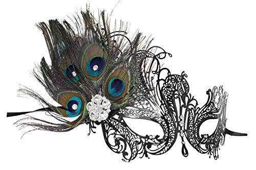 Aloma Laser-Cut Metal Black Venetian Women's Masquerade Mask w/Peacock Feathers