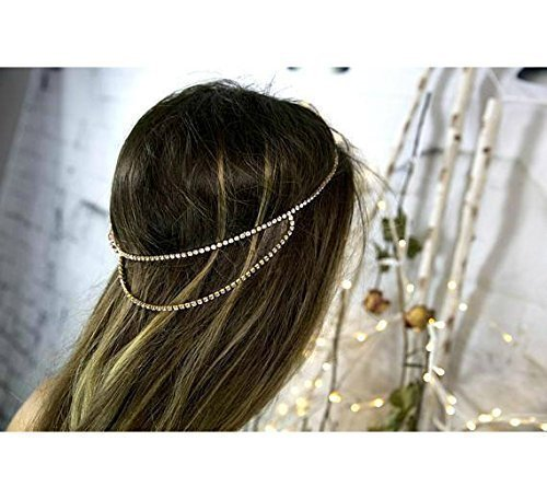Bridal Headband, Boho Head Chain, Rose Gold Hair Jewelry, Goddess Head Chain, Forehead Head Band, Wedding Hair Accessories