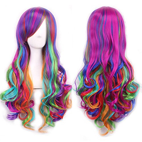 Full Rainbow Long Curly Wig - Cosplay Harajuku Style Hair