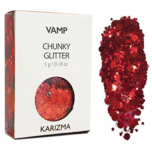 Red Vamp Chunky Glitter - Great for Festivals, For Use on Face, Body, Hair, and Nails