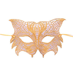 Gold Tiger Face Lace Masquerade Mask by Samantha Peach