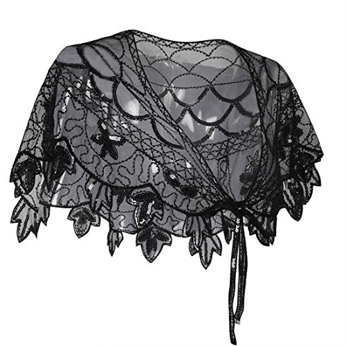 Exquisite Sequin and Bead Embellished 1920s Deco Shawl - Flapper Evening Bolero Wrap - Black