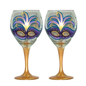 Elaborate Masquerade Mask Wine Glasses - Hand Painted Decorative