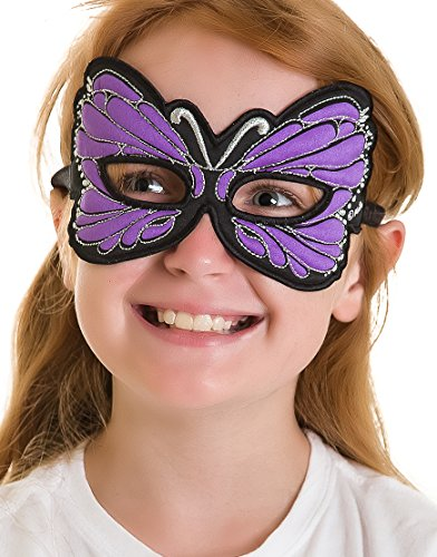 Childs Embroidered Butterfly Mask for Costume Parties, Dress Up and Festivals- purple