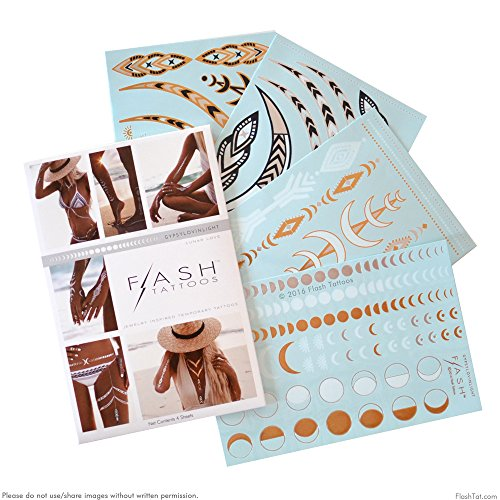 Flash Tattoos Lunar Love Authentic Metallic Temporary Tattoos 4 Sheet Pack (Black/gold/silver/white) - Includes Over 38 Premium Waterproof Tattoos