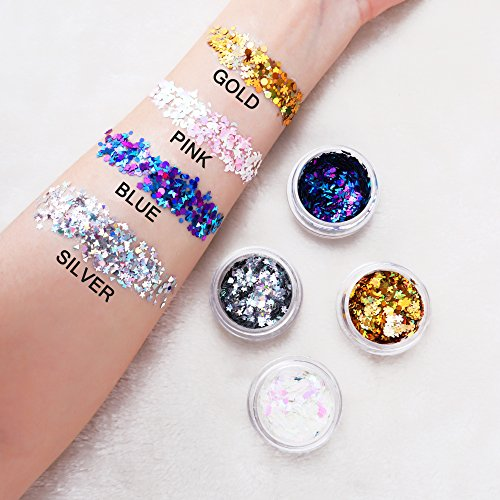 Body Glitter festival party pack, 4 Colors Holographic Chunky Glitter with Fix Gel for Face, Body, Hair and Nail