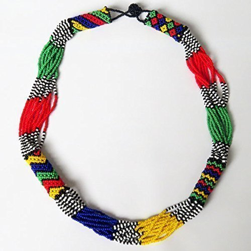 African Zulu beaded short necklace – South African flag multicolour - Gift for her