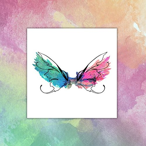Watercolor Butterfly Wings Temporary tattoo - pink/green/black