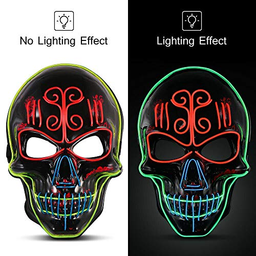 Halloween Light Mask LED Glowing Mask Cosplay Skull Head Night Mask Scary MASK