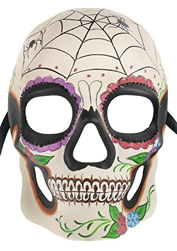 Mexican Day of the Dead Costume Skull Mask - white