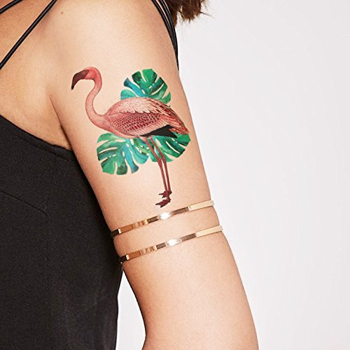 Pink Flamingo with Monstera leaves Temporary tattoo - pink/green
