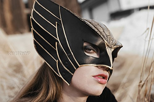 Winged Helmet Genuine Leather Mask for Masquerades Cosplay or Halloween Costumes