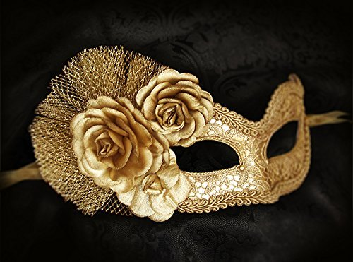 Metallic Gold Masquerade Mask With Fabric Roses