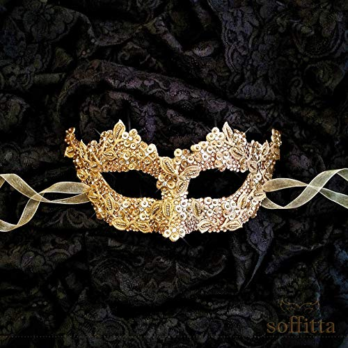 Venetian Style Gold Couple's Masquerade Mask