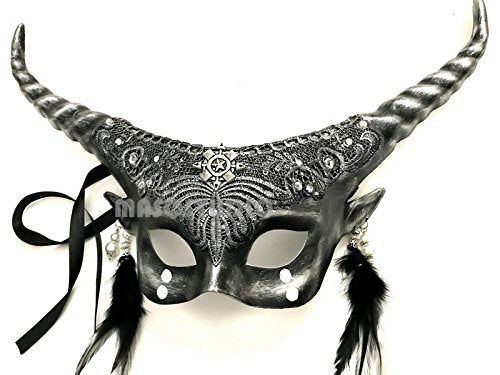 MASQSTUDIO Victorian Gobin Fairy Antler Brocade Lace Masquerade Ball Mask with Horns (Silver)