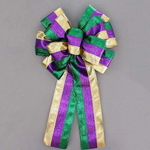 13 inch Mardi Gras Metallic Stripe Bow