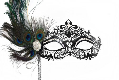 Simone Peacock Deluxe Metal Laser-Cut Bejeweled Women's Masquerade Stick Mask