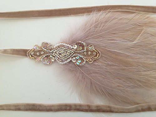 Custom 1920s Great Gatsby Feathered Flapper Bridal Headband