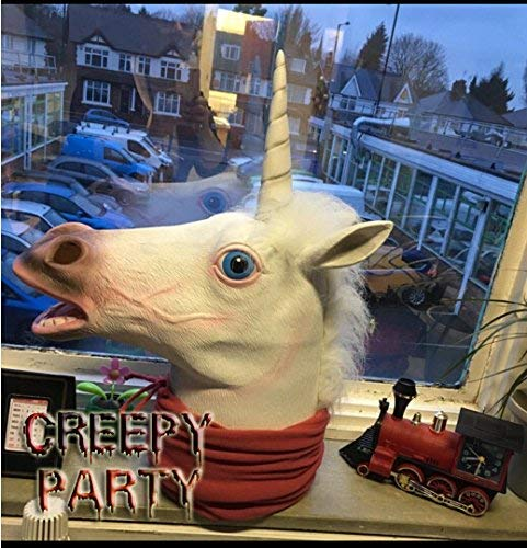 Creepy Party Deluxe Novelty Halloween Costume Party Latex Animal Head Mask, Unicorn