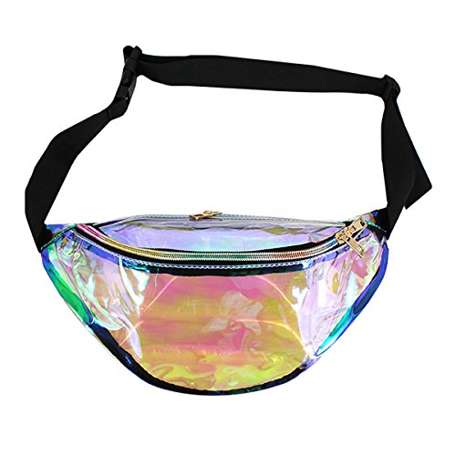 Retro Hologram Bum Bag Fanny waist Pack Perfect for Raves and Festivals - silver iridescent
