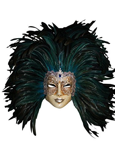 Venetian Full Face Volto Piume Mac Mask for Women (Silver/Blue)
