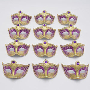 Miniature Masquerade venetian Mask Party Decorations - Purple & Gold