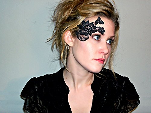 Reusable Adhesive Black Lace Masquerade Mask
