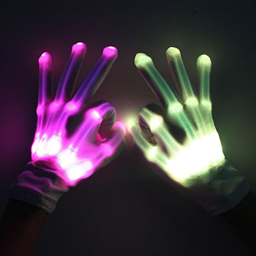 LED Rave Light Up Gloves for Festivals and Dance Party Skeleton Hands - Blue/Various Colours