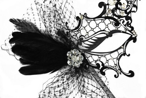 Colette Deluxe Laser-Cut Black Venetian Masquerade Mask on a Stick for Women