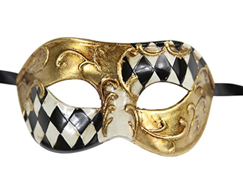 Luxury Men's Vintage Venetian Design Masquerade Mask for Prom /Mardi Gras - Black/Gold Half Checkered