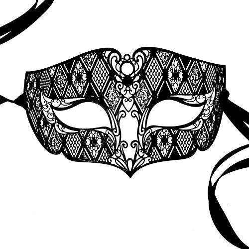 The Perfect Couple - Katherine and King Henry Black Metal Masquerade Mask Set
