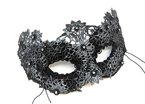 Yasmine Lace Masquerade Mask for Women with Rhinestones