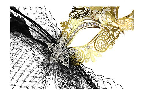 Simone Deluxe Laser-Cut Metal Gold Venetian Women's Masquerade Mask on a Stick