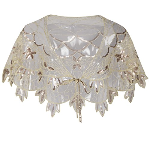 Exquisite Sequin and Bead Embellished 1920s Deco Shawl - Flapper Bolero Wrap - Champagne