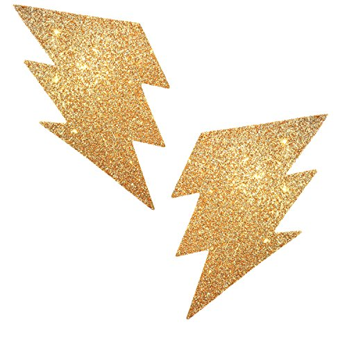 Glitter shimmer Lightning Bolt Pasties Nipple Covers for festivals and raves - gold