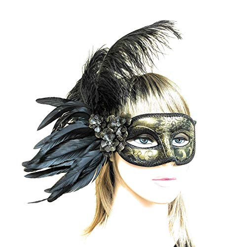 Deryn Deco Fancy Dress Black Masquerade Mask for Women