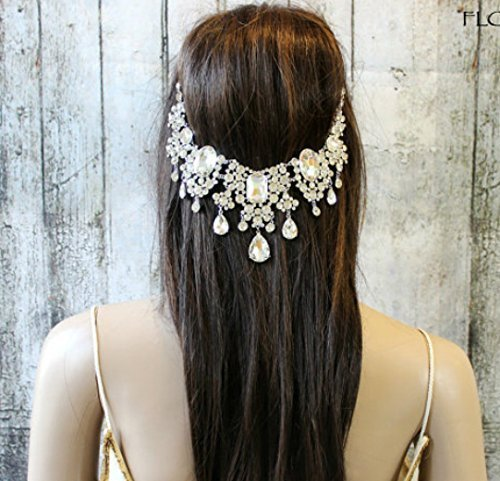 Crystal Bridal Headpiece, Statement Head Chain, Wedding Hair Accessories, Boho Headband, Hair Jewelry for the Bride, Gatsby Hairpiece