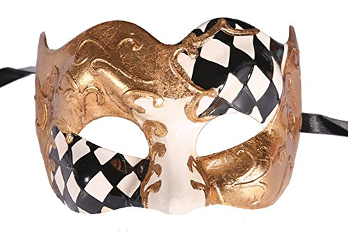 Luxury Jester style Venetian Party Masquerade Mask - traditional design
