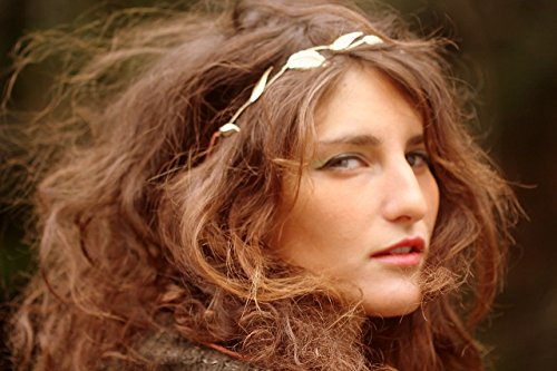 Dainty Grecian Festival Wedding Boho scatter Leaves Headband - Gold