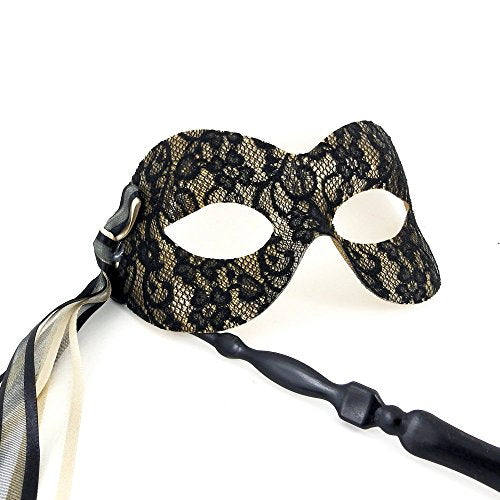 Black and Gold Pure Lace Stick Mask