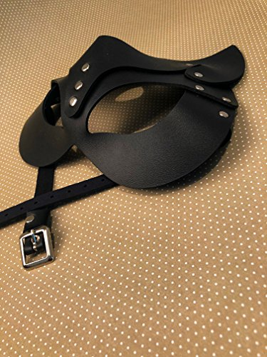 Women's Black Leather Cat Mask - Sophisticated Cat-women Halloween Look