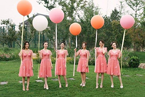 2pcs 36 inch Rose Gold Giant Round Balloons with Tassels Garland Tail for Wedding Baby Shower Event & Party Supplies
