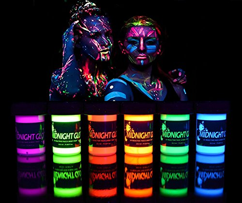 UV Neon Face & Body Paint Glow Kit, Blacklight Reactive Fluorescent Paint for festivals parties rave - 6 different colors