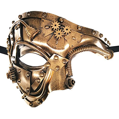 Steam Punk Phantom of The Opera Vintage Gold Mechanical Men Venetian Mask