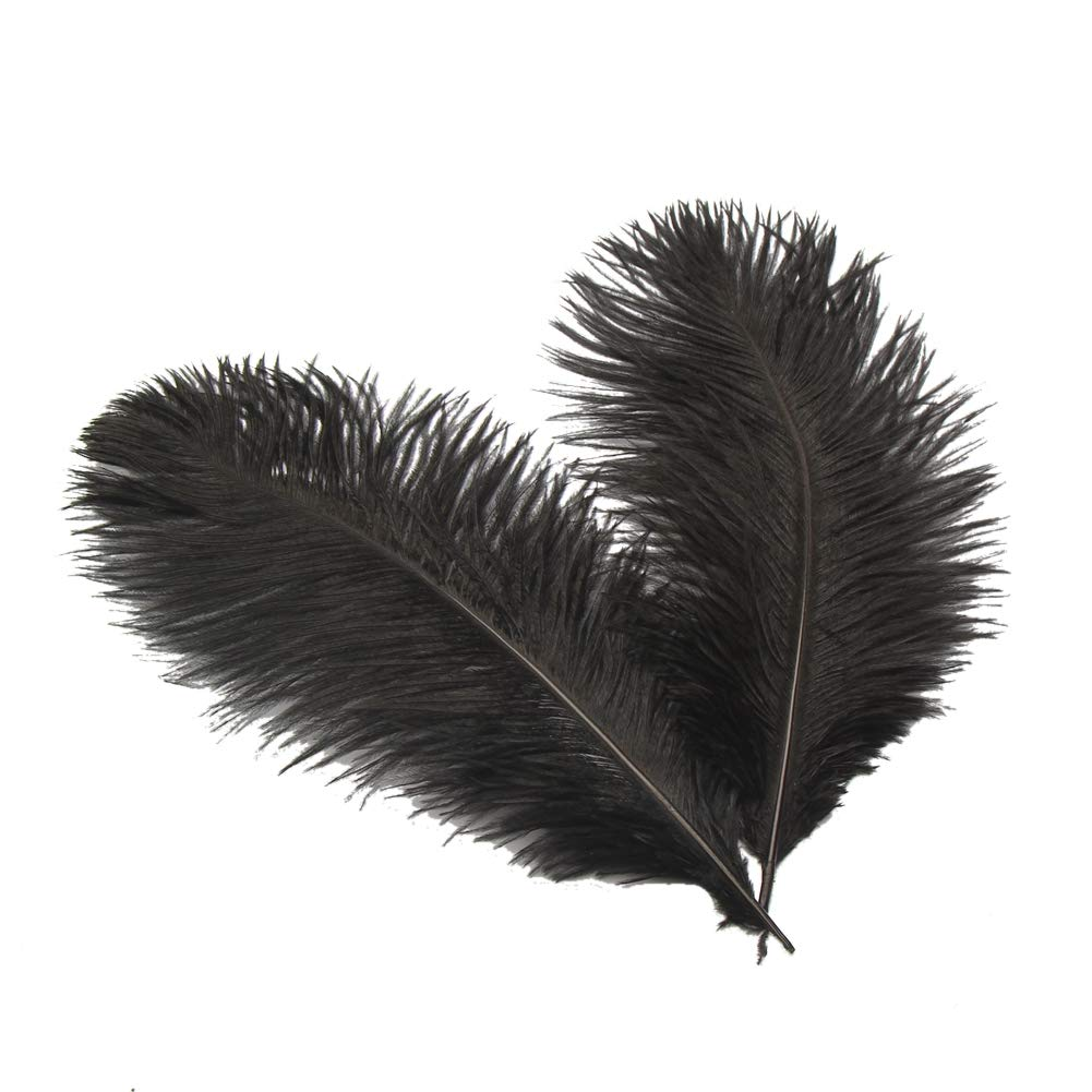Sowder 16-18inch(40-45cm) Ostrich Feathers Plume for Wedding Centerpieces Home Decoration Pack of 10pcs(Black)