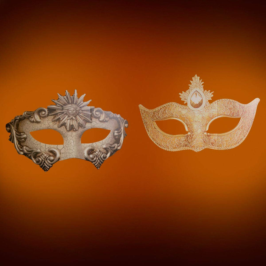 Mysterious Masquerade Hanging Masks Kit, Set of Two Cardboard Masks