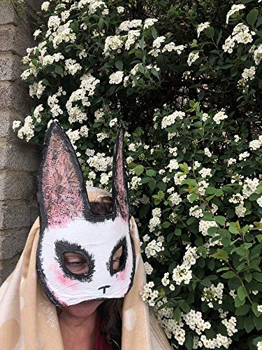 Creepy White Rabbit Masquerade Masks - Adult Halloween Mask - Custom Handmade Horror Props - Scary Animal Masks